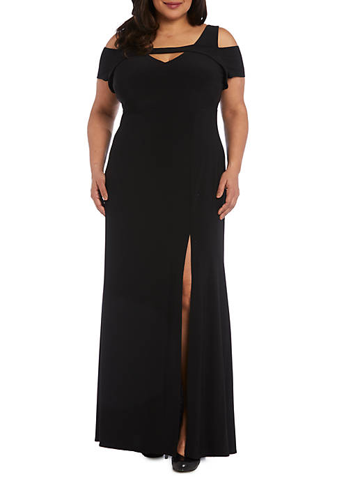 Nightway Plus Size Cold Shoulder Jersey Long Gown Belk