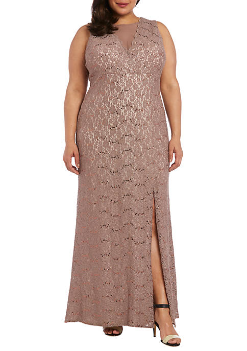 Plus Size Long Sequin Glitter Lace with Illusion Gown