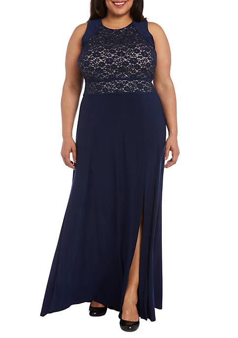 Nightway Plus Size Glitter Lace Bodice Gown | belk