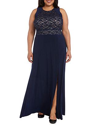 3044b81a8 Nightway Plus Size Glitter Lace Bodice Gown | belk