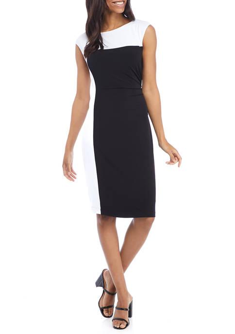 Womens Cap Sleeve Color Block Dress
