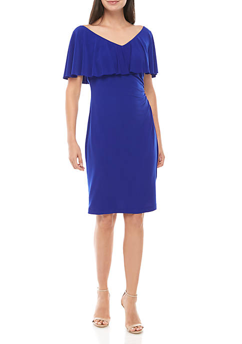 Connected Apparel Ruffle V Neck Side Ruched Dress
