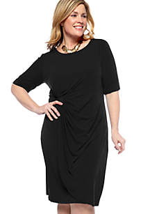 Plus Size Elbow Sleeve Side Ruched Dress