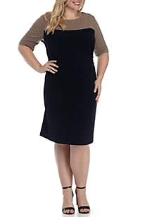 Plus Size Colorblock Sheath Dress