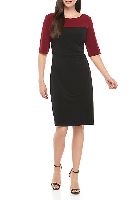 Connected Apparel Colorblock Sheath Jersey Dress