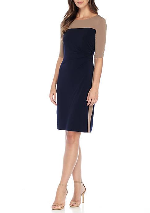 Colorblock Sheath Jersey Dress