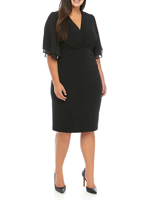 Connected Apparel Plus Size Bell Sleeve Side Ruch
