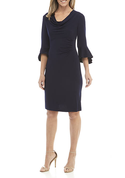 Connected Apparel Bell Sleeve Cowl Neck Dress