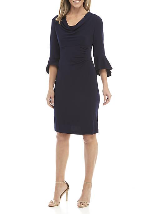 Womens Bell Sleeve Cowl Neck Dress
