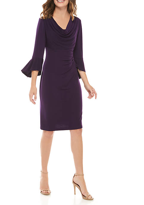 Connected Apparel Womens Bell Sleeve Cowl Neck Dress