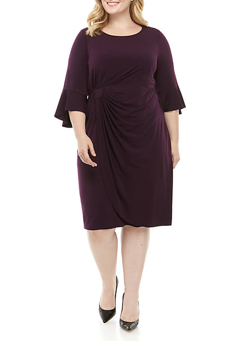 Connected Apparel Plus Size Bell Sleeve Solid Round