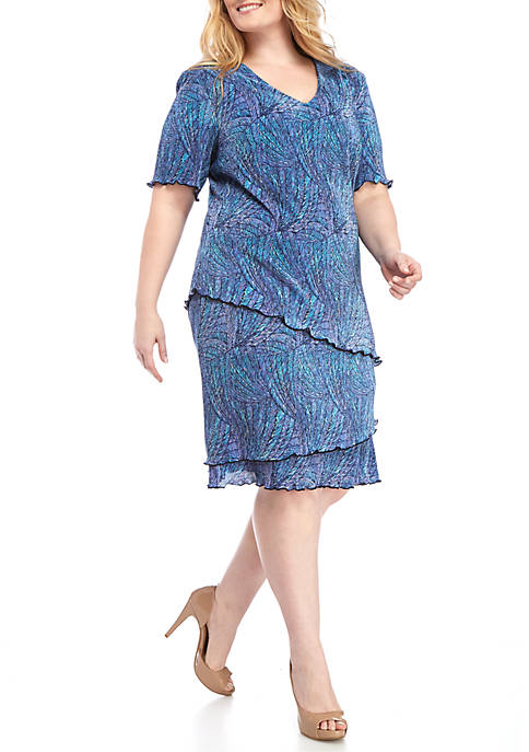 Connected Apparel Plus Size Three Tier Dress Belk