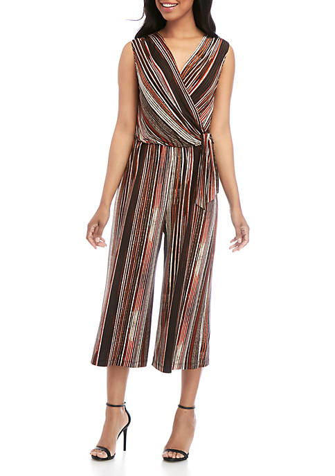 Connected Apparel Faux Wrap Stripe Jumpsuit