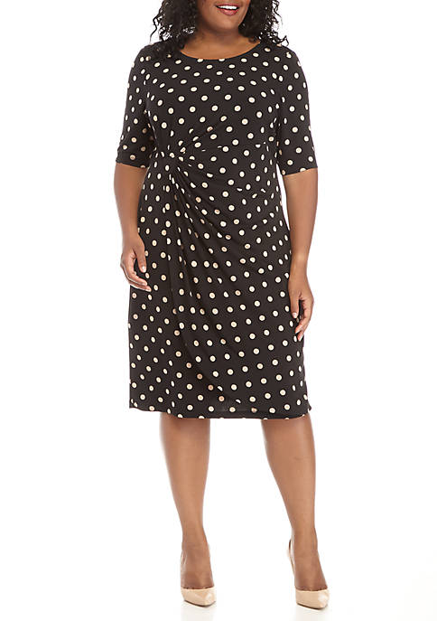 Connected Apparel Plus Size Polka Dot Printed Jersey