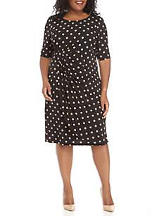 Plus Size Polka Dot Printed Jersey Wrap Dress