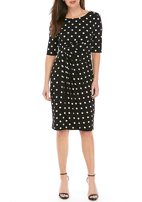 Connected Apparel Side Ruched Polka Dot Dress 857e40b8d