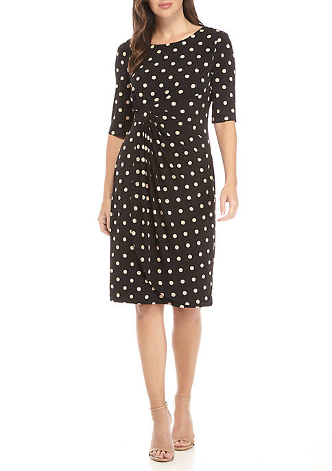 Connected Apparel Side Ruched Polka Dot Dress