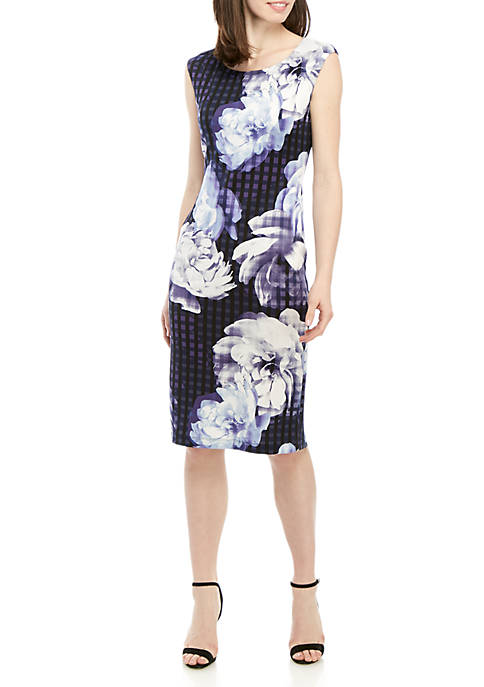 Connected Apparel Cap Sleeve Large Floral Sheath Dress