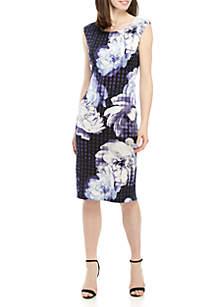 f8e8edcbb00 ... Connected Apparel Cap Sleeve Large Floral Sheath Dress