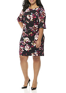 Plus Size 3/4 Bell Sleeve Floral Print Dress