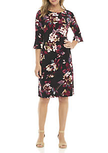 Bell Sleeve Side Ruched Dress