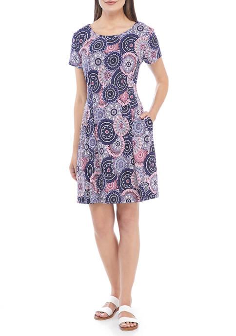Connected Apparel Womens Short Sleeve Geometric Print Sheath