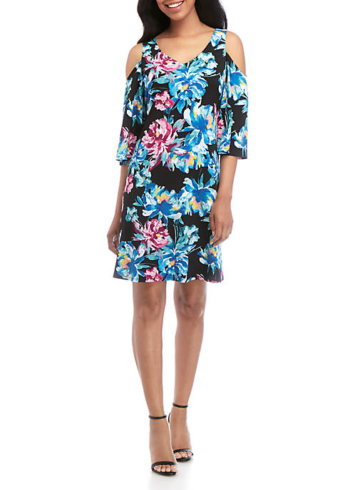 Connected Apparel Cold Shoulder Floral Dress