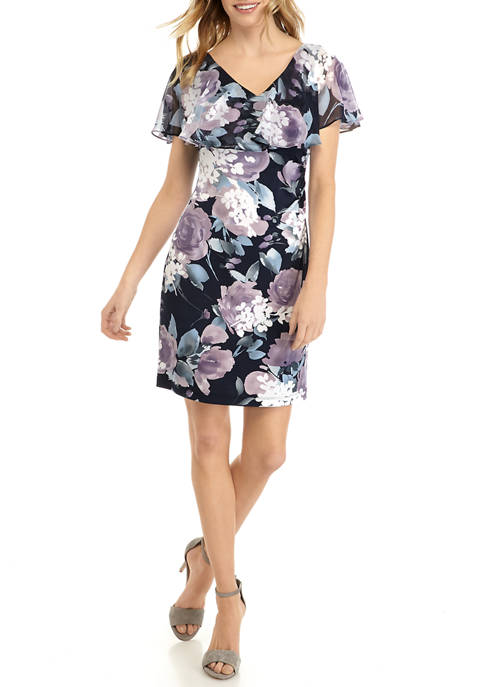 Connected Apparel Petite Ruffle Flounce Floral Sheath Dress