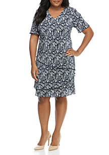 fd1c4073 ... Connected Apparel Plus Size Short Sleeve Layered Fan Print Dress