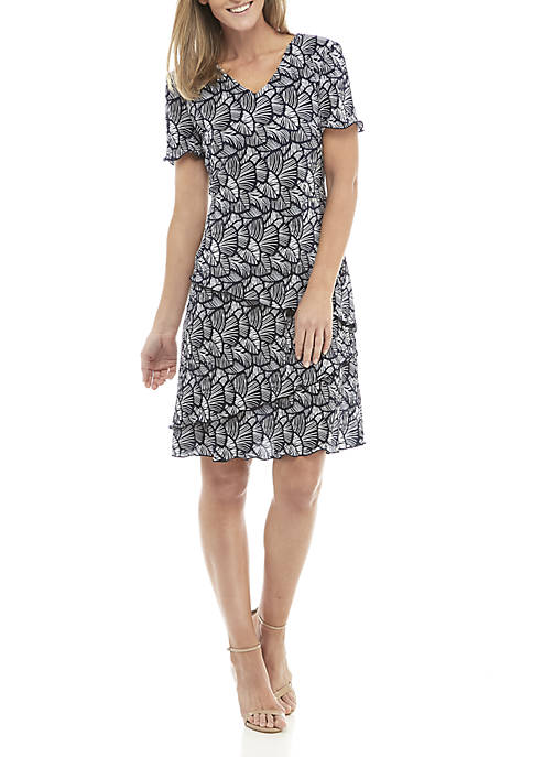 Connected Apparel Short Sleeve Layered Fan Print Dress