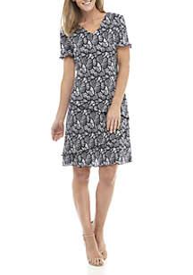 ebd44b31038 Connected Apparel Short Sleeve Layered Fan Print Dress