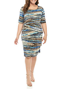 Connected Apparel Plus Size Short Sleeve Tiered Graphic Stripe Dress