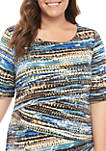 Plus Size Short Sleeve Tiered Graphic Stripe Dress