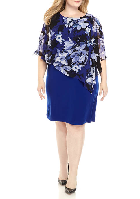 Connected Apparel Plus Size Floral Cape Solid Sheath