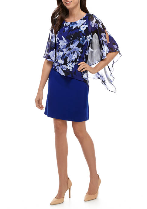 Connected Apparel Womens Floral Cape Sleeve Sheath Dress
