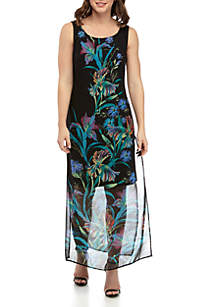 Connected Apparel Sleeveless Chiffon Floral Maxi Dress