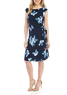 Connected Apparel Cap Sleeve Side Sarong Floral Dress