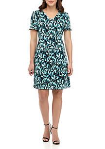Connected Apparel V Neck Fit and Flare Leaf Print Dress