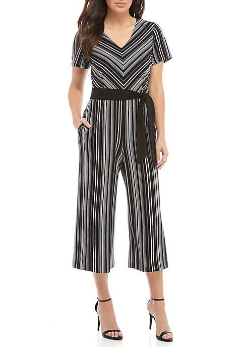Connected Apparel Short Sleeve V-Neck Stripe Jumpsuit