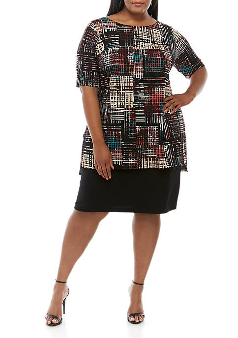 Connected Apparel Plus Size Elbow Sleeve Printed Dress