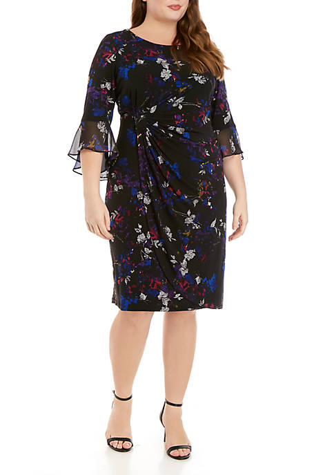 Connected Apparel Plus Size Bell Sleeve Printed Side
