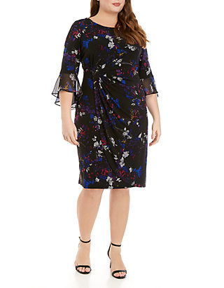 Plus Size Bell Sleeve Printed Side Ruched Dress