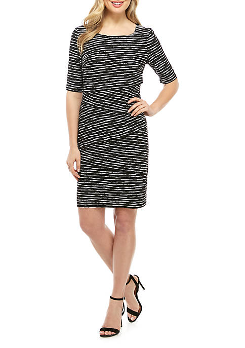 Connected Apparel Elbow Sleeve Layered Stripe Dress
