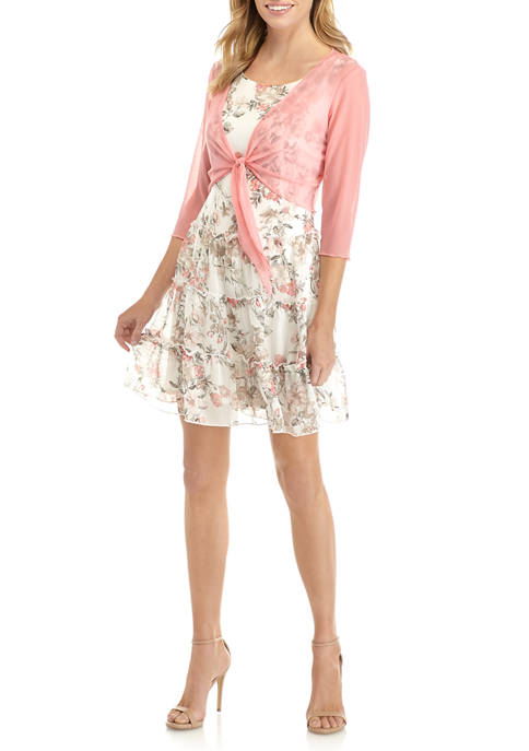 Petite 3/4 Sleeve Tie Sweater and Floral Fit and Flare Dress