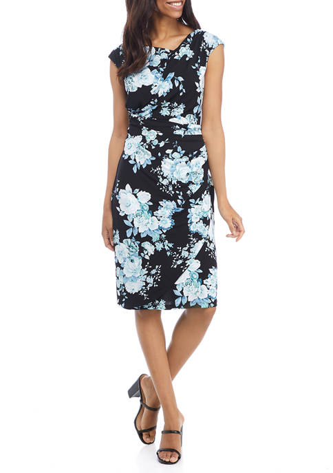 Connected Apparel Womens Cap Sleeve Side Ruched Floral