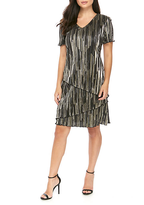 Connected Apparel Womens Short Sleeve Metallic Tiered Bodre