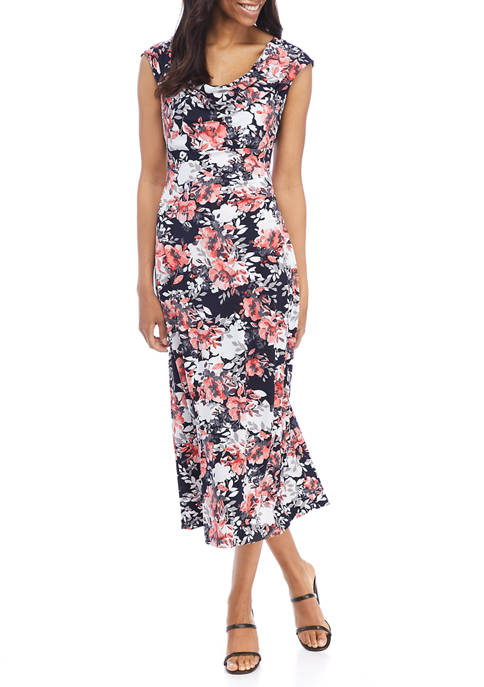 Womens Cap Sleeve Cowl Neck Floral Sheath Dress