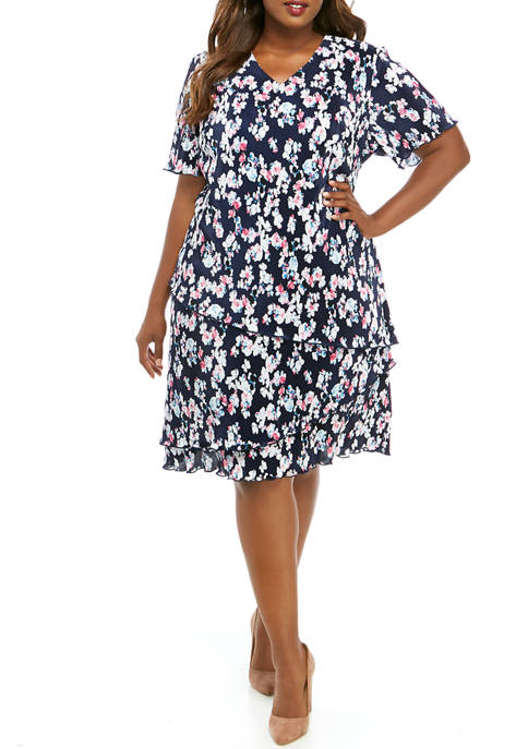 Connected Apparel Plus Size Short Sleeve Tier Bodre