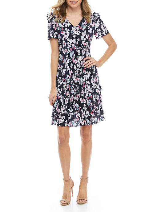 Connected Apparel Womens Short Sleeve Tier Print Dress