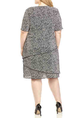 Connected Apparel Womens Plus Size Animal Print Jersey Short Full Skirt